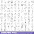 100 med lab icons set, outline style
