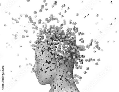 Fotografía  Shattered person head, stress and headache abstract idea.