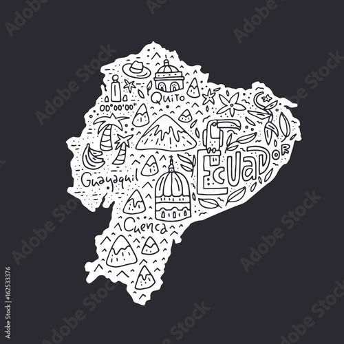 Canvas Print Cartoon Map of Ecuador