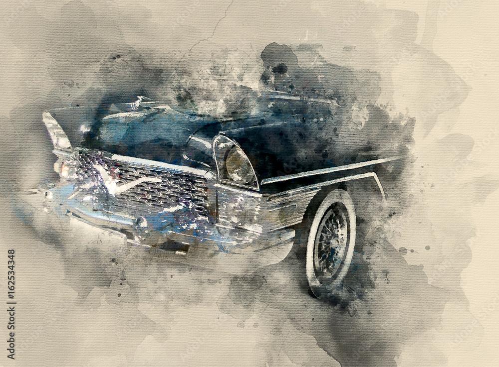 Retro car. Watercolor background