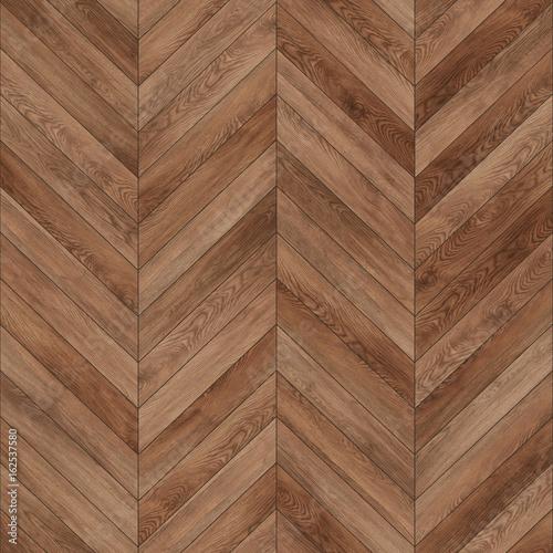 Fototapeta Seamless wood parquet texture (chevron brown) obraz na płótnie