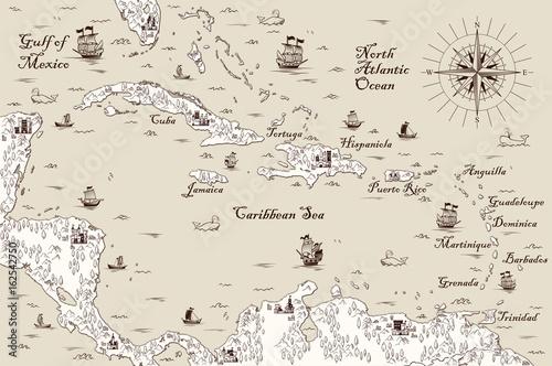 Old map of the Caribbean Sea, Vector illustration – kaufen Sie diese ...