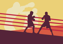Boxer Man Fight In Boxing Ring Vector Background
