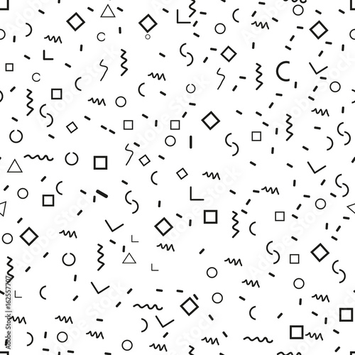 Obraz Scattered Geometric Shapes. Inspired by Memphis Style. Abstract Background Design. Vector Seamless Black and White Irregular Pattern. - fototapety do salonu