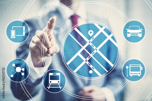 Fotografía  Navigation direction mobile application concept illustration