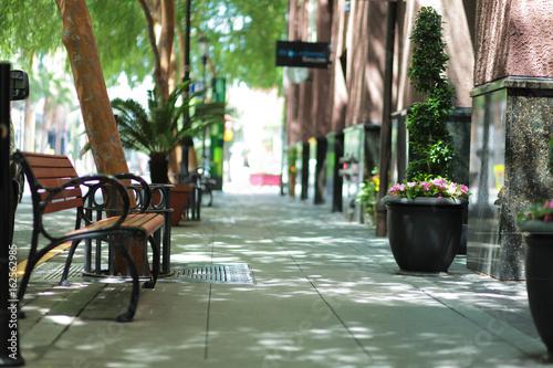 Canvastavla Empty bench along the sidewalk
