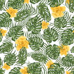Fototapeta Tropical leafs and flowers seamless pattern background