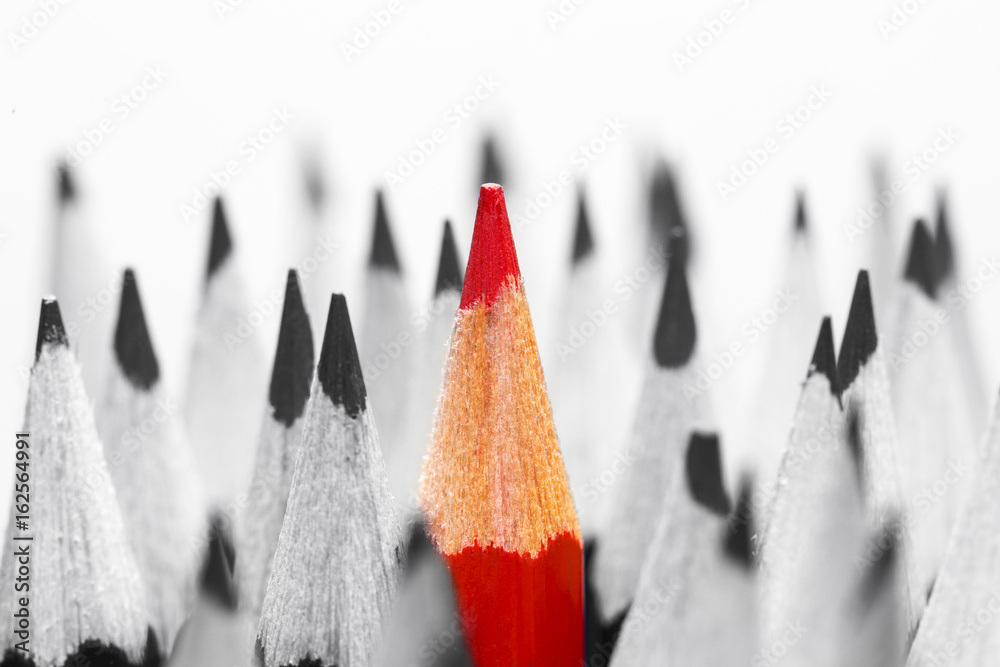 Fototapeta Red pencil among black and white