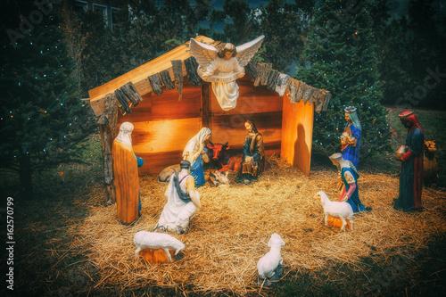 nativity scene christmas christmas manger scene with figurines newborn jesus mary joseph