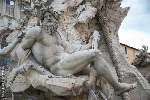 Fountain of the Four Rivers (Fontana dei Quattro Fiumi) and Agonale obelisk at P Wallpaper Mural