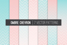 Blush Pink And Soft Aqua Ombre Chevron Vector Patterns. Girly Gradient Fade Zigzag Stripes Texture Blending Into Solid Color. Horizontally Seamlessly Repeating Pattern Tile Swatches Included.