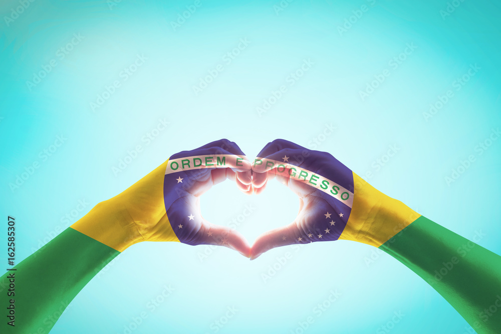 Brazil Flag On People Hands In Heart Shape For Labor Day And