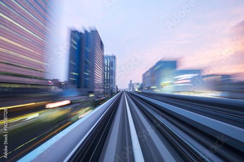speed railroad track in modern city