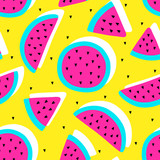 Vector seamless watermelon fruit crazy colors pattern. Watermelon slices. Very bright colorful cute cartoon background (wallpaper, fabric). Childish style, abstract pop art  - 162590705