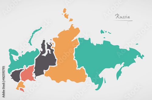 Russia Map with states and modern round shapes Wallpaper Mural