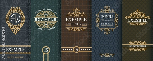 Stampa su Tela Exquisite set of design templates for label and package of whiskey