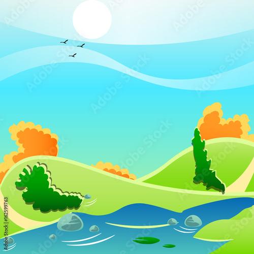 Spoed Foto op Canvas Turkoois Nature landscape background