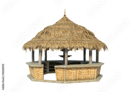 3D Rendering Beach Bar on White Tableau sur Toile