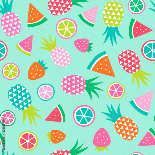 Colorful hand drawn tropical fruit seamless pattern background