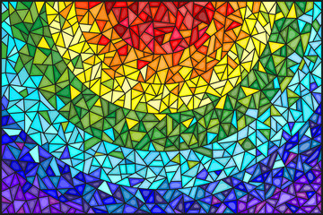 NaklejkaAbstract stained glass background , the colored elements arranged in rainbow spectrum