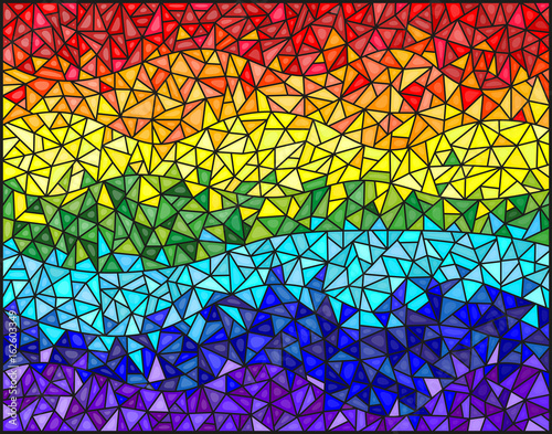 Fotografie, Obraz  Abstract stained glass background , the colored elements arranged in rainbow spe