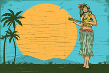 Hello Summer Sign Board, Hula Girl Playing Ukulele, Vector