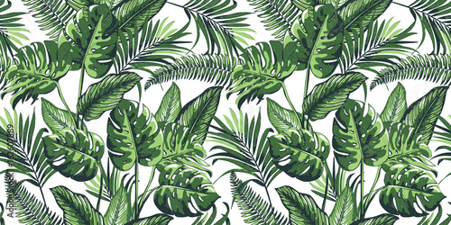 Fotografía  Tropical seamless pattern with palm leaves.
