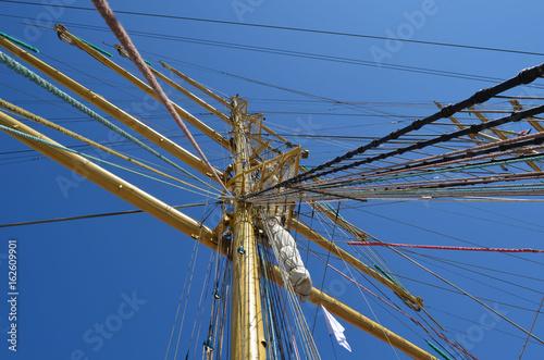 Mast and ropes of sailing boat © Svetlana