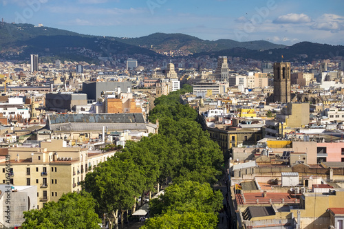 Photo View of Las Ramblas in Barcelona