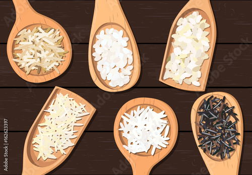 Fotografie, Obraz  Different types of rice in wooden spoons