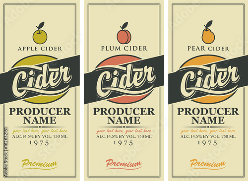 Obraz na płótnie Vector set of labels for various types of cider