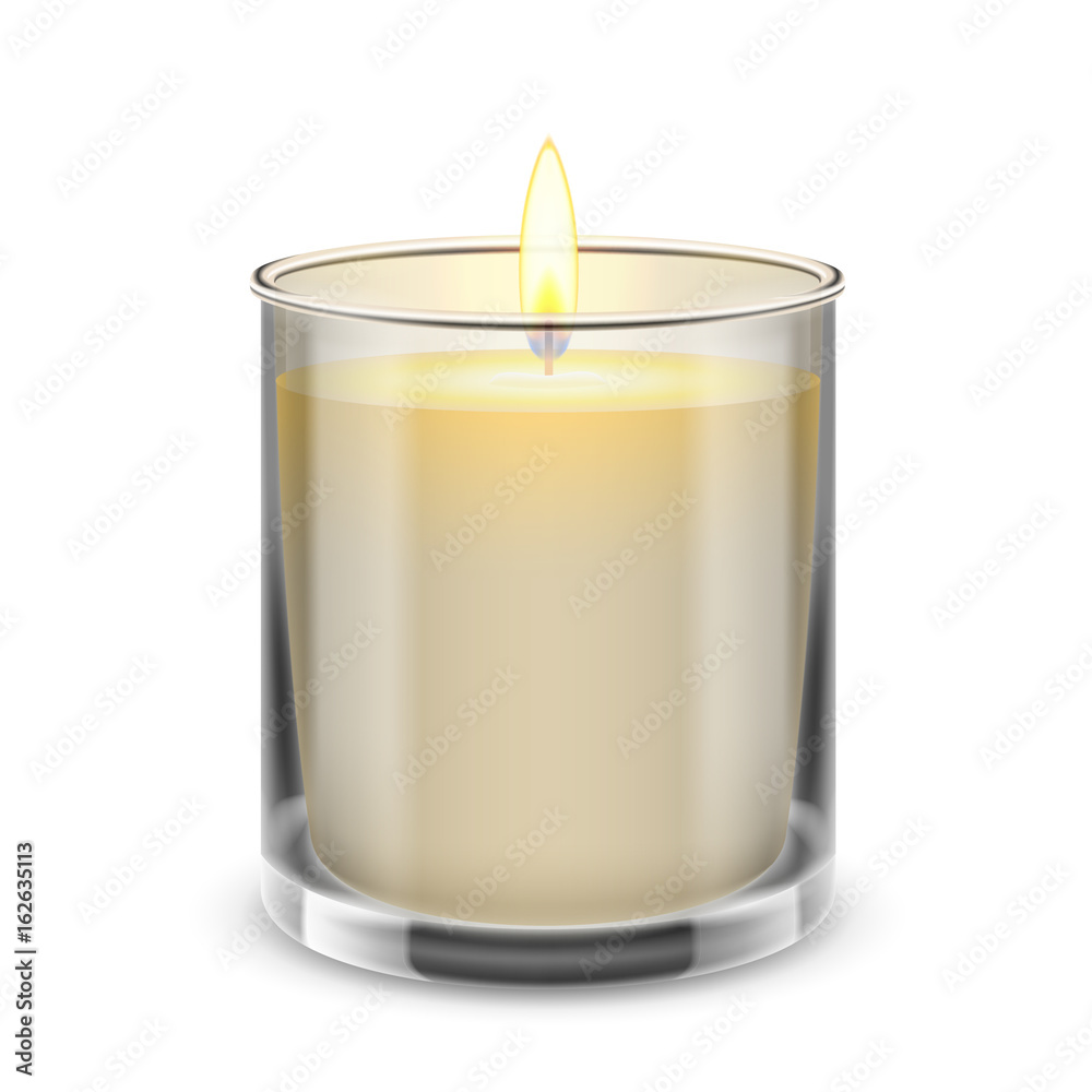 Fototapety, obrazy: Candle light in a straight glass jar. Vector realistic illustration.