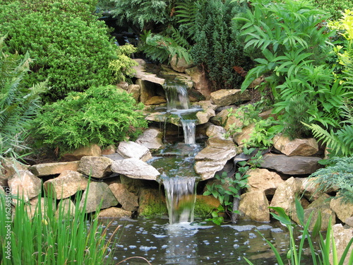 lovely pond with waterfall water garden nature park lanscape rock forest
