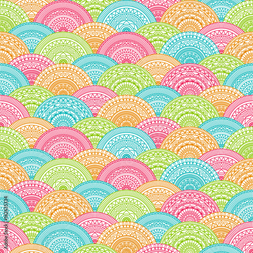 Cotton fabric Seamless background  Eastern style blue, green and red. Arabic  Pattern. Mandala ornament. Elements of flowers and leaves. Vector illustration. Use for wallpaper, print packaging paper, textiles.