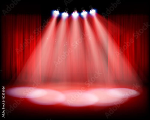 Fotografie, Tablou  Stage with red curtain. Vector illustration.
