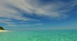 v07218 Maldives white sandy beach clouds on sunny tropical paradise island with aqua blue sky sea ocean 4k