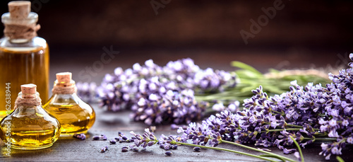 Panorama banner of lavender essential oil Canvas-taulu