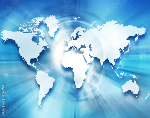 Cadres-photo bureau Carte du monde Best Internet Concept of global business. Globe, glowing lines on technological background. Wi-Fi, rays, symbols Internet, 3D illustration