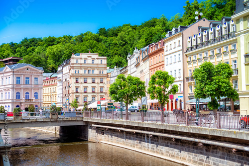 Fotografie, Obraz  Tepla River embankment. Karlovy Vary, Czech republic