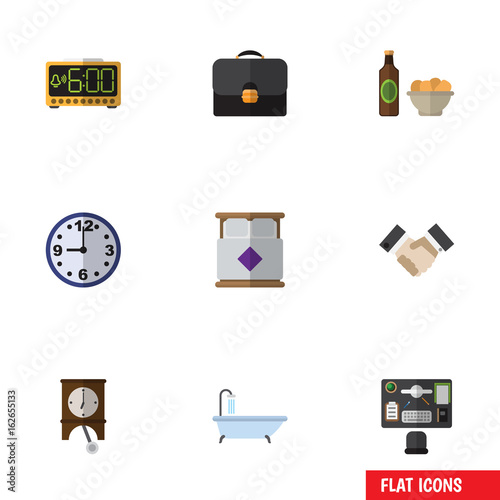Flat Icon Oneday Set Of Bureau, Briefcase, Tub And Other Vector Objects. Also Includes Snack, Bureau, Beer Elements. Wall mural