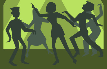 people silhouettes dancing vector background