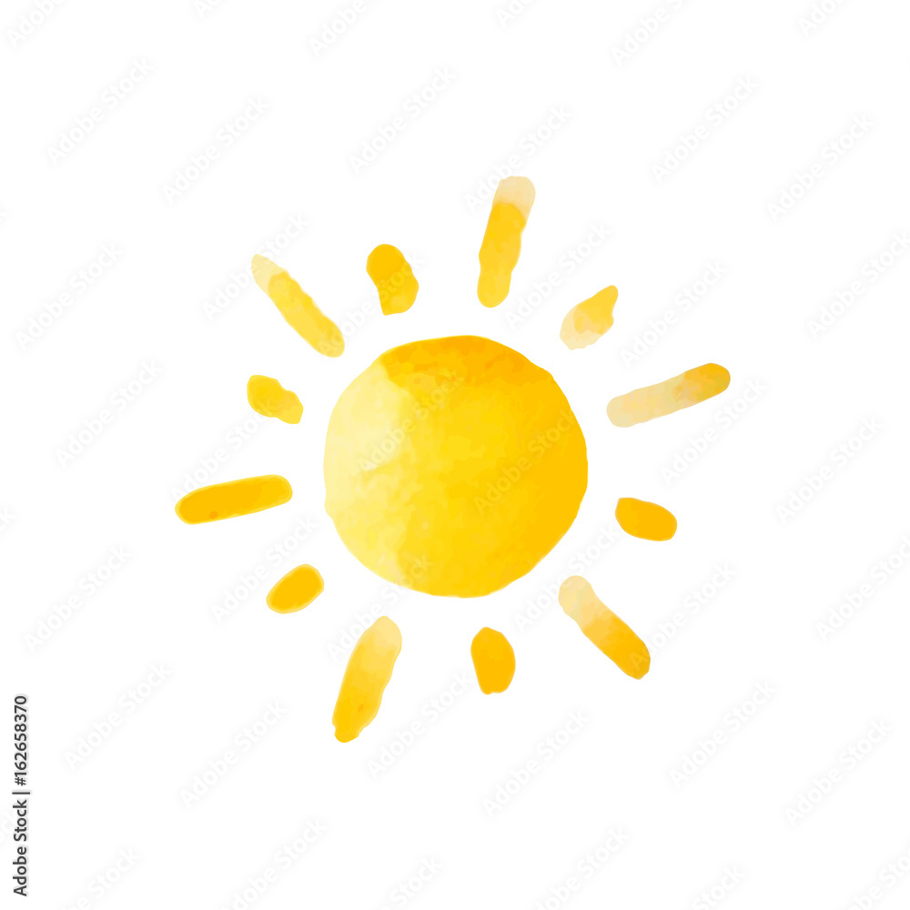 Fototapety, obrazy: Watercolor sun isolated. Vector illustration.