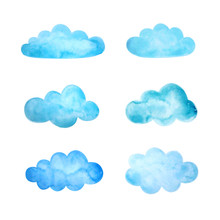Set Of Watercolor Clouds. Vector Illustration