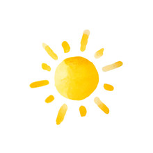 Watercolor Sun Isolated. Vector Illustration.