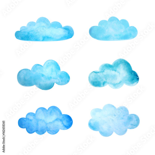 Poster Ciel Set of watercolor clouds. Vector illustration