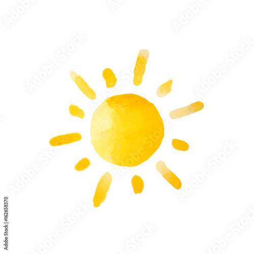 Watercolor sun isolated. Vector illustration.