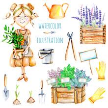 Set Of Watercolor Cute Gardene...