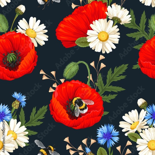 Cotton fabric Red poppies seamless