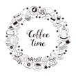 Coffee time poster concept. Coffee party greeting card design. Hand drawn line art illustration with teapots, cups and sweets in circle frame isolated on white background.