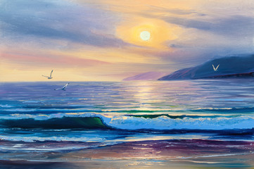 FototapetaSunrise over  sea. Painting seascape.
